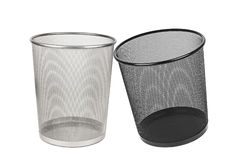 Two empty trashes. Isolated on a white background Royalty Free Stock Photography
