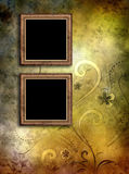 Two Empty Vintage Frames On Old Paper Background Stock Photos