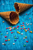 Two empty waffle cone for ice cream Stock Photos