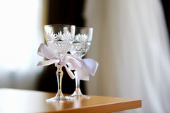 Two empty wedding champagne glasses Royalty Free Stock Photography
