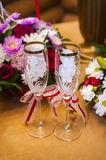 Two empty wedding champagne glasses Royalty Free Stock Image