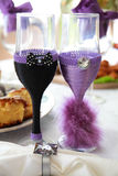 Two empty wedding champagne glasses Stock Photos