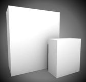 Two empty white boxes Stock Images