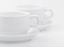 Two empty white cups Royalty Free Stock Images