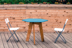 Free Two Empty White Modern Chairs With Blue Table On The Wooden Floor Of The Theatre Stock Photos - 78753913