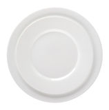 Two empty white plates isolated on white background. Royalty Free Stock Photos