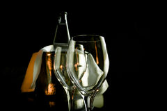Two empty wine glasses and ice bucket Stock Photo