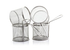 Two Empty Wire Chip Baskets Royalty Free Stock Images