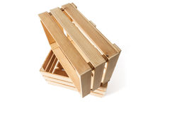 Two empty wooden boxes Royalty Free Stock Photo