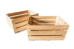 Two empty wooden boxes Royalty Free Stock Images