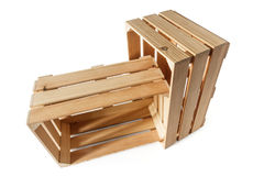 Two empty wooden boxes Stock Photo