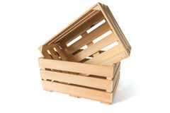Two empty wooden boxes Stock Images