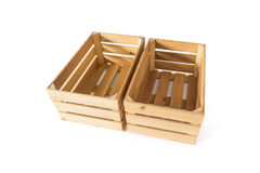 Two empty wooden boxes Stock Photos