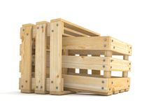 Two empty wooden crate Side view 3D Royalty Free Stock Photography