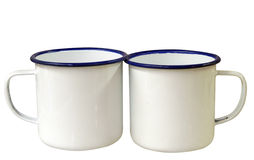 Two Enamel Mugs. Isolated with clipping path royalty free stock image