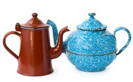 Two enameled kettle Royalty Free Stock Image
