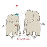 Two enamored elephants, greeting card of Valentine's Day and we. Dding, vector illustration Stock Images