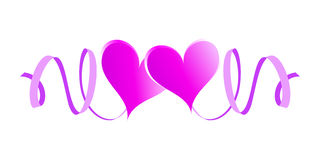Two enamored hearts with ribbons. Pink design element Royalty Free Stock Images