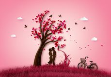 Two enamored under a love tree. royalty free illustration