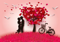 Two enamored under a love tree vector illustration