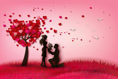 Two enamored under a love tree royalty free illustration