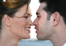 Two enamoured. The enamoured man and the woman concern each other Stock Photos