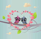Two Enamoured Birdies. The vector illustration of Pair of Bird against Love Background (Romantic Spring Card royalty free illustration