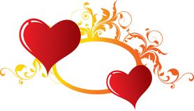 Two enamoured hearts. Enamoured hearts of red colour against a vegetative ornament Stock Photos