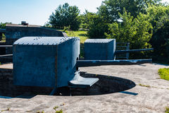 Two Endicott-Era Rapid-Fire Guns at Fort Monroe. Side view of two Endicott-era, 3-inch, rapid-fire guns at Fort Monroe in Hampton, Virginia. This was a 2-story Royalty Free Stock Image