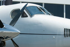 Two engined propeller airplane Royalty Free Stock Image