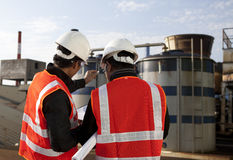 Two engineer on location site disscution Stock Photos