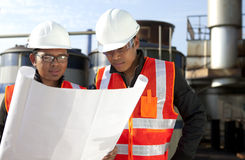 Two engineer on location site disscution Royalty Free Stock Images