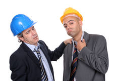 Two Engineers or Architects, very tired Stock Images
