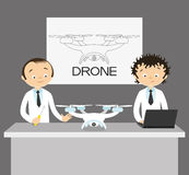 Two engineers and drone Royalty Free Stock Photos