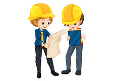 Two engineers planning. Illustration of the two engineers planning on a white background Stock Image