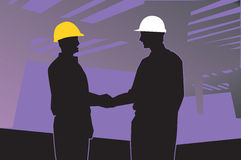 Two Engineers Shaking Hands Stock Photo