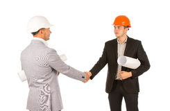 Two Engineers Shaking Hands on White Background Stock Photography