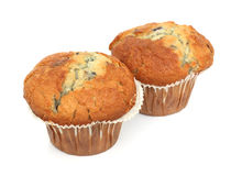 Two English Blueberry Muffins. Isolated over a white background stock photography
