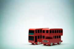 Two English bus. On blue background with vignette Royalty Free Stock Image