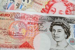 Two English fifty pound notes. stock photo