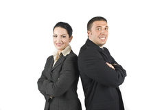 Two enthusiast business people stock images