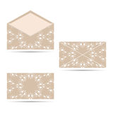 Two envelope with a circular ornament, beige with white. An envelope with a circular ornament. The face and seamy side Royalty Free Stock Photography