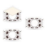 Two envelope with a circular ornament, white with brown. An envelope with a circular ornament. The face and seamy side Stock Photography