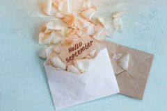 Two envelopes with fading rose petals and a note Stock Photos