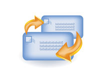 Two envelops with arrow Royalty Free Stock Images