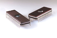 Two EPROM chips on a white background Stock Images