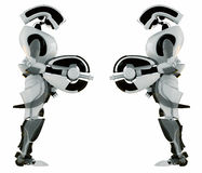 Two equal robotic guards. Two robotic futuristic guards isolated on white Stock Photo
