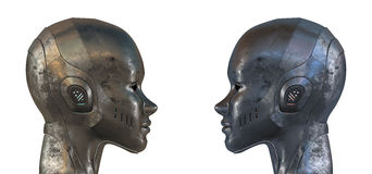 Two equal steel robots in profile. 3d render Royalty Free Stock Images
