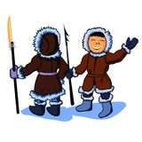 Two eskimos cartoon. Two cartoon eskimos with harpoons vector art objects characners Royalty Free Stock Photo