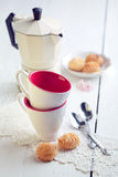 Two espresso coffee cups, italian mocha and small biscuits, morn Stock Images